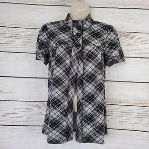 Eyelash Couture   Tartan Plaid Button Cardigan Top